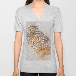 Bird animal owl art abstract Unisex V-Neck