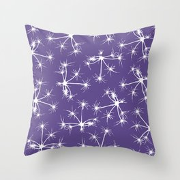 Floral Fireworks - Ultra Violet Botanical Pattern Throw Pillow