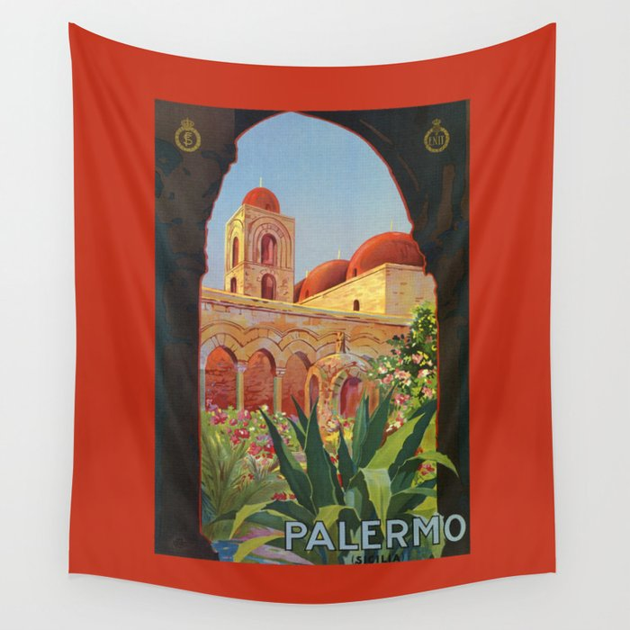 vintage 1920s Palermo Sicily Italian travel ad Wall Tapestry