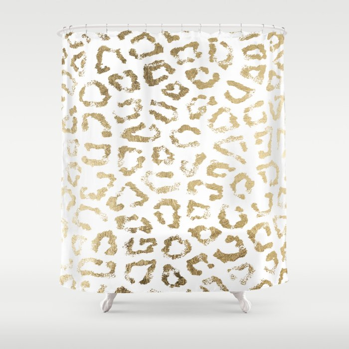 Modern White Chic Faux Gold Foil Leopard Print Shower Curtain