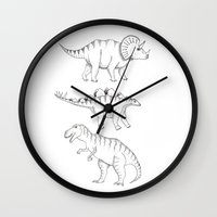 dinosaurs Wall Clocks featuring dinosaurs by Hannah Elizabeth
