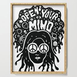 Open Your Mind in black Serving Tray