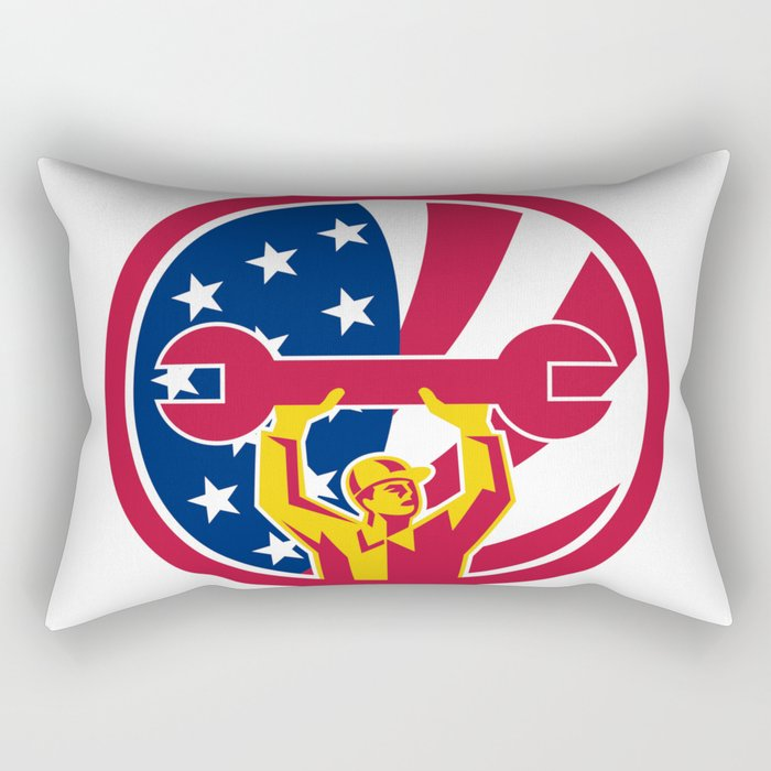 American Mechanic USA Jack Flag Icon Rectangular Pillow