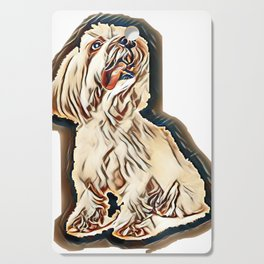 Coton de Tulear in front of white background        - Image Cutting Board