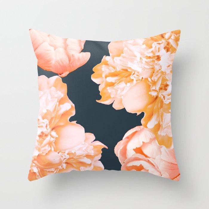 Peach Colored Flowers Dark Background Decor Society6 Buyart Throw