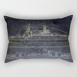 Vintage USS Arizona Blueprints Rectangular Pillow
