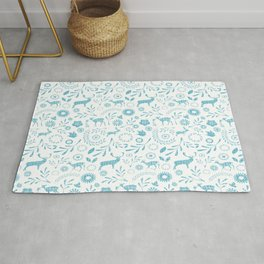 Flowers and foliage pattern featuring deer Rug
