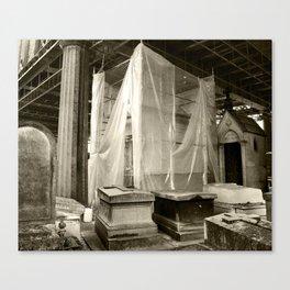 Mausoleum Draped in Tarp Canvas Print