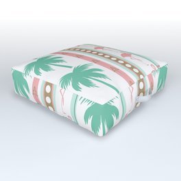 Art Deco Palm Trees and Flamingos Outdoor Floor Cushion