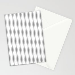 Mattress Ticking Wide Striped Pattern in Charcoal Grey and White Stationery Cards