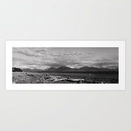 View from Beach at Homer Alaska (monochrome) Art Print