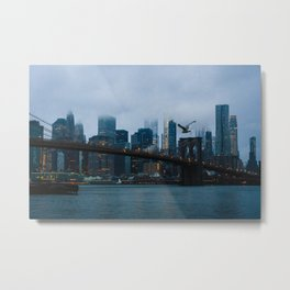 New York City skyline in the fog Metal Print