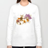 fall Long Sleeve T-shirts featuring Critters: Fall Camping by Teagan White