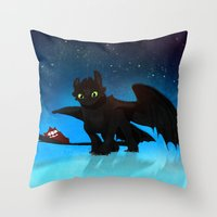 toothless Throw Pillows featuring Toothless by sevillaseas