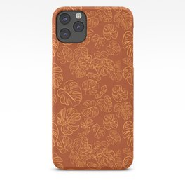 Monstera Jungle Golden Leaves Marigold Yellow & Rust palette_vector drawing  iPhone Case