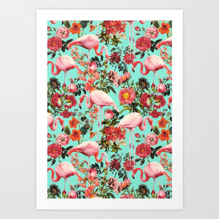 Floral and Flemingo IV Pattern Art Print