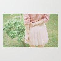 peach Area & Throw Rugs featuring Peach by Mariam Sitchinava