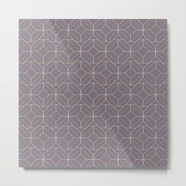 Minimalist Geometric Diamond Shapes in Aubergine Metal Print