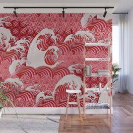 Seamless decorative pattern with waves in Chinese style Wall Mural