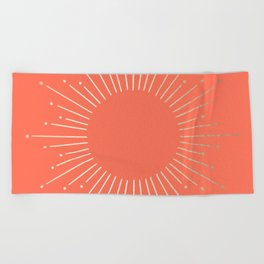 Simply Sunburst in Deep Coral Beach Towel
