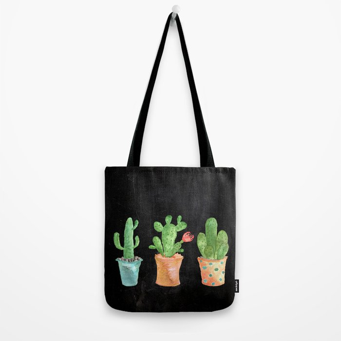 Three Green Cacti On Chalkboard Tote Bag