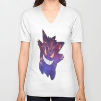 gengar V-neck T-shirts featuring Galaxy Gengar by Visual Declaration