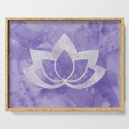 Lotus Flower on Purple Serving Tray