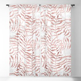 Rose Gold Fern Palm Leaves on Black Marble Blackout Curtain