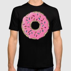 DONUT WORRY BE HAPPY Black Mens Fitted Tee 2X-LARGE