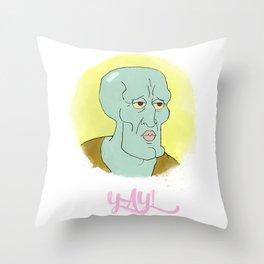 Handsome squidward Throw Pillow