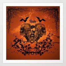 Awesome mechanical skull  Art Print