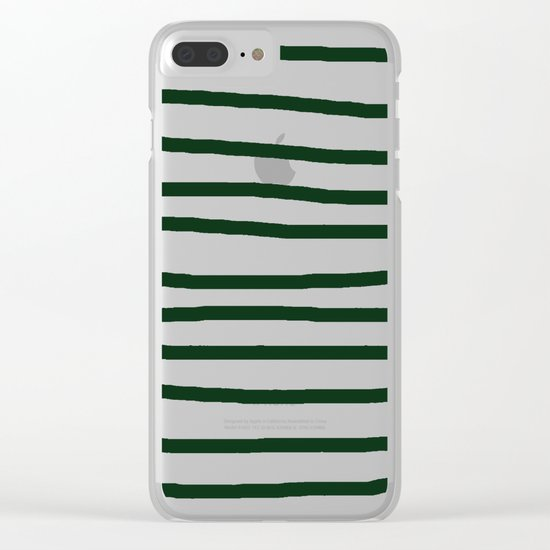 Simply Drawn Stripes in Pine Green Clear iPhone Case