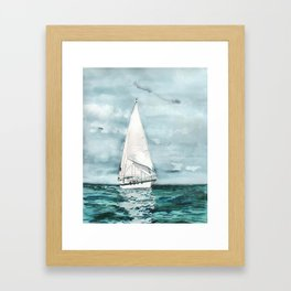 Sailboat painting on turquoise waters stormy skies Framed Art Print