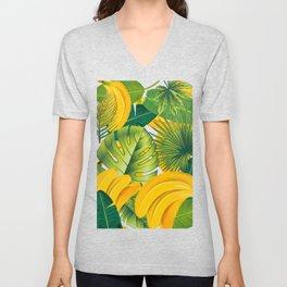 Tropical leaves decor bananas print forest interior palm Unisex V-Neck