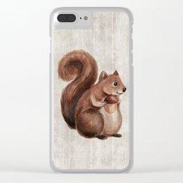 Little Squirrel, Woodland Animals, Forest Friends, Baby Animals, Children's Art Clear iPhone Case
