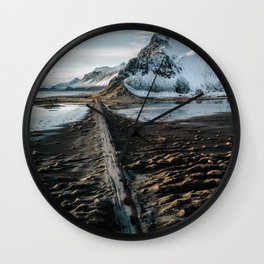 Icelandic black sand beach and mountain road - landscape photography Wall Clock