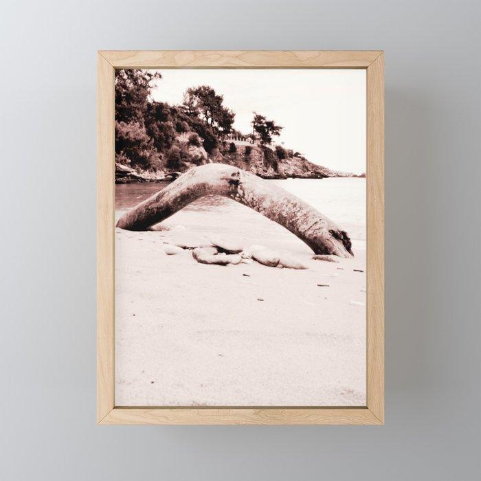Beach days monochrome Tree trunk Framed Mini Art Print