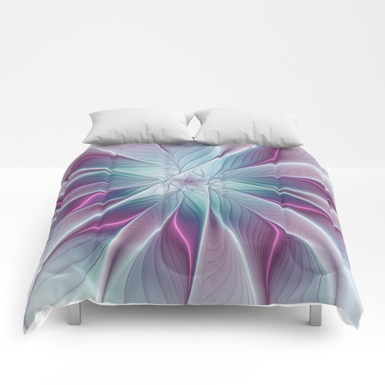Floral and Luminous, abstract Fractal Art Comforters