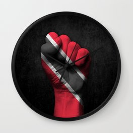 Trinidadian Flag on a Raised Clenched Fist Wall Clock