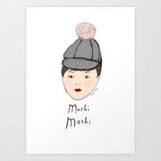Moshi Moshi - White and Pink Art Print