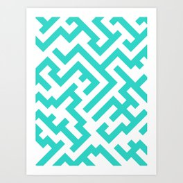 White and Turquoise Diagonal Labyrinth Art Print