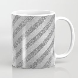 Geometrical abstract modern faux silver glitter stripes Coffee Mug