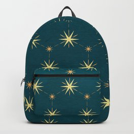 Boho gold stars on navy blue pattern Backpack