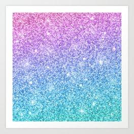 Pink Ombre Glitter Art Print
