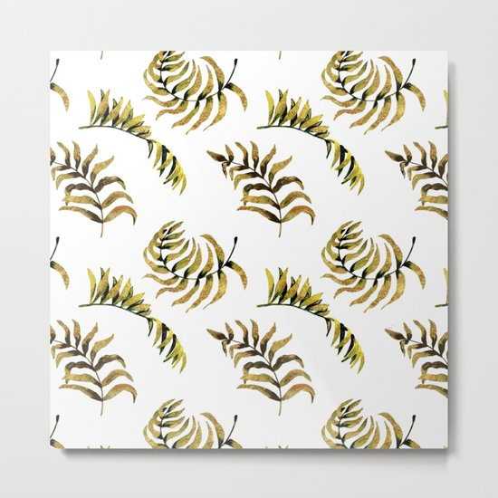Exotic Gold Palm Leaves Pattern on #Society6 Metal Print