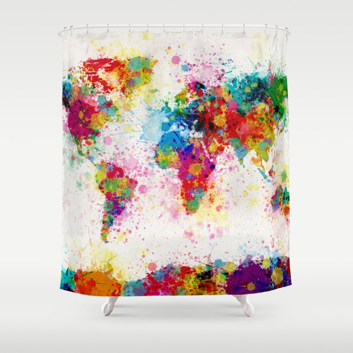 Map Of The World Paint Splashes Shower Curtain