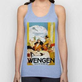 Vintage Wengen Switzerland Travel Unisex Tank Top