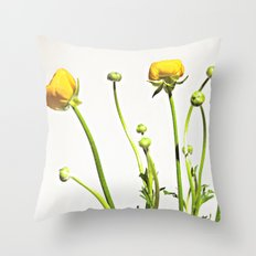 Golden Yellow Ranunculus Flowers on White Throw Pillow