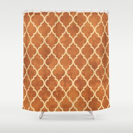 Classic Quatrefoil Lattice Pattern 912 Beige and Ochre Shower Curtain