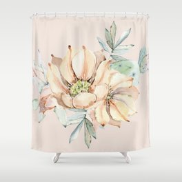 Country Cactus Coral Roses Shower Curtain